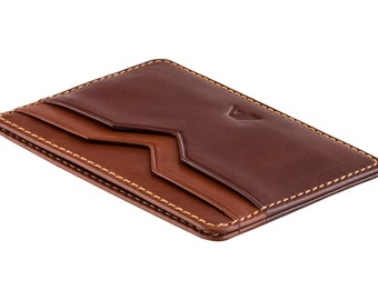Super Slim Leather Card Holder / Card Wallet - A-SLIM - BROWN/TAN - Yaiba - Credit Card Wallet - Card Holder - Mens Slim Leather Wallets