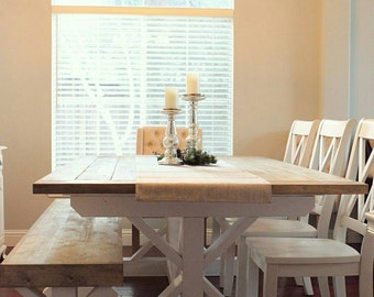 Custom Order 8 Ft White And Gray X Style Trestle Farmhouse Table Bench
