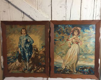 Paint by number set of paintings girl and boy blue boy and pinky vintage oil paint by number