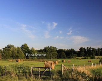 Farm, Landscape, Country, Hay, Field, Photograph, Farmland, print, Hay Bales, Photo, photography, free shipping, metal