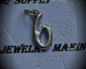 Number 6 Sterling Silver Plated Charm