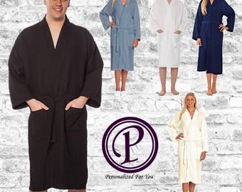 5 Colors Men's Long Waffle Robe, Monogrammed Robe, Embroidered Robe, Bath Robe, Birthday Gift, Spa Robe, Couples Robes