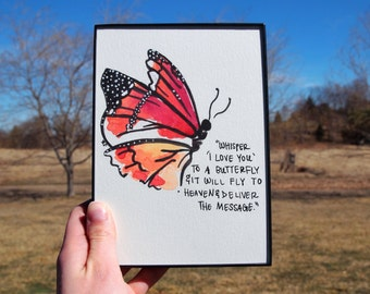 Butterfly Original Watercolor w/Quote