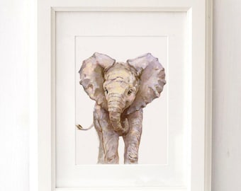 Elephant portrait - Giclee -  Baby animal  Print - Safari Nursery Art - Elephant Nursery Art - Zoo Nursery Print