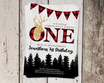 Printable Lumberjack Invitation Template, Lumberjack Theme Birthday Party Invite, Boys First 1st Birthday, Instant Download Digital File PDF
