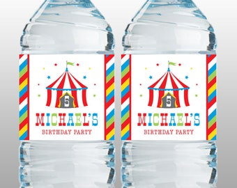Personalized Circus Party Water Bottle Labels – DIY Printable – Big Top Red (Digital File)