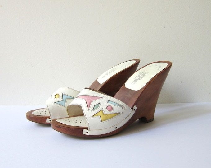80s White Leather Wedges