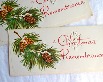Vintage Christmas Money Cards -  Christmas Remembrance - 2 Unused