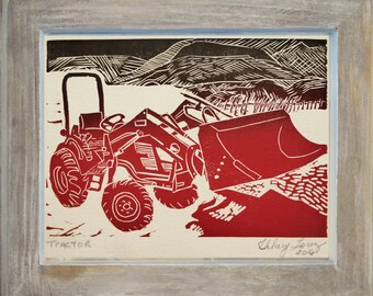 Big Red Tractor  hand carved and hand printed linocut