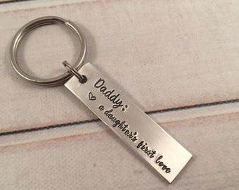 "Daddy Keychain - ""Daddy - a daughter's first love"" - Daddy Keychain - Dad Keychain - daddy daughter keychain"