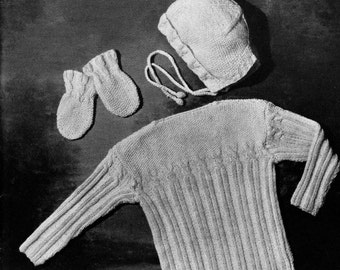 PATTERN 1940s Vintage Layette Infant 3 piece Set Cardigan Bonnet Mittens Knitted Pattern for Babies