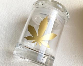 Stash jar, GOLD LEAF,weed jar, glass stash jar,wedding, stoner gift, stoner, gift women upscale classy cannabis Marijuana 420 ganja jar
