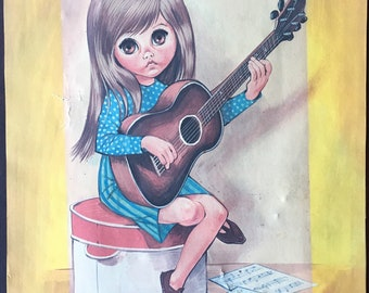 Big Eye Art Print By Eve // Retro 1960's Guitar Kid Sad Eyes // Unframed