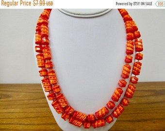 On Sale Vintage Red and Orange Sculptured Plastic Beaded Necklace Item K # 1097
