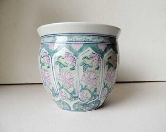 Chinese Porcelain Bowl Vase Planter Pink Peonies  6x5.4 inch