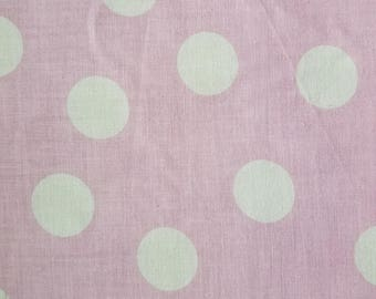 Vintage Pink Cotton Fabric, Retro Pink Cotton Fabric, Large Polka Dot Fabric