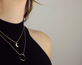 Moon 18k gold necklace, crescent moon necklace, Dainty moon necklace, Minimalist necklace, Delicate moon necklace, Simple moon necklace