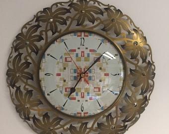 Vintage Metamec retro starburst wall clock