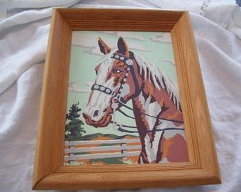 Horse PBN  Paint By Number  Framed 12x15 Vintage