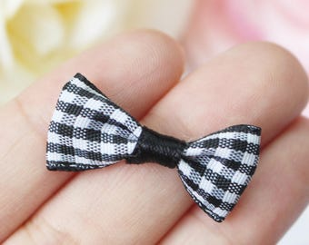 10 pcs Mixed Color Grosgrain Grid Bows Scrapbooking Embellishments DIY Sewing Craft Supplies (LM-553)