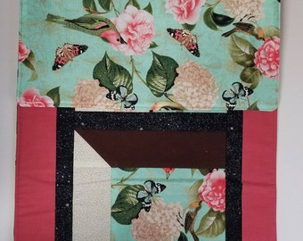 Quilted table runner birds with butterflies roses table topper peach