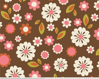 Indian Summer by Riley Blake, Floral in Brown - 1 Yard - Reduced