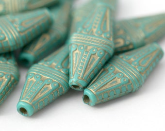 Acrylic Beads Etched Turquoise Gold Acrylic Flat Bicone 22mm (16)