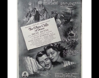 1943 White Cliffs of Dover Movie Poster Irene Dunne 1943 BW Poster. WWII World War 2 film. Movie Room Ad Art Roddy McDowall.  Ready Frame.
