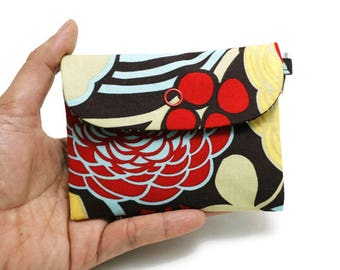 SALE, 10%OFF - Card/Cash/Coin Pouch with a Key ring, Small zipper pouch, ID card holder with a Back zipper pocket - Mocca Chocolate