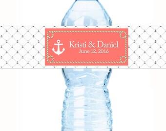 Anchor Wedding Water Bottle Labels - 20 Bottled Water Labels - Wedding Decor - Nautical Wedding Decor -
