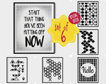 Set of 6 prints black and white, geometric art print set, Geometric printable art, quote posters, teen room decor boy, printable wall art
