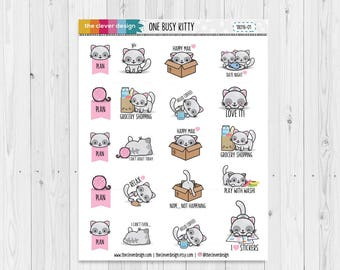 One Busy Kitty Planner Stickers | Cat Emoticon Stickers | Cat Planner Stickers | 18016-01