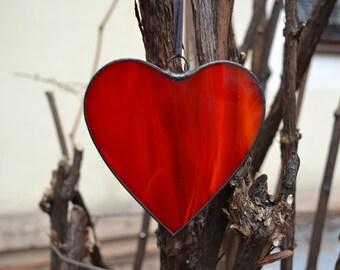 Stained Glass Heart Ornament, Red Heart Suncatcher Sentimental Gift for Girlfriend or Boyfriend