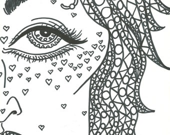 Adult Coloring Book Trippy Babes HD Digital Download 5 JPEG Files Unlimited YDD Art Prints