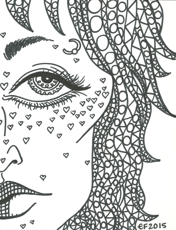 Adult Coloring Book Trippy Babes HD Digital Download 5 JPEG Files Unlimited YDD Art Prints