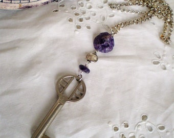 Vintage Skeleton Key Necklace with Amethyst Gemstones - Feminine Steampunk, February Birthstone, long, assemblage, key to heart, purple