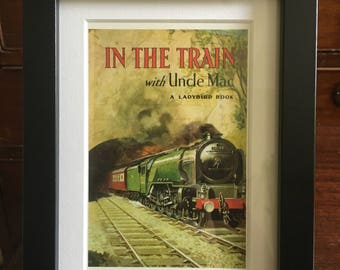 Retro Ladybird Book cover Framed. In The Train