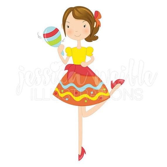 fiesta girl with maraca cute digital clipart cinco de mayo rh etsy com fiesta clip art images free fiesta clipart png