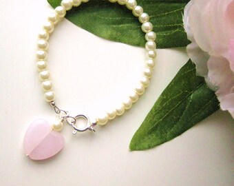 Pearl Bracelet with Heart charm, Small Girls Bracelet, GBS 166, sterling silver clasp