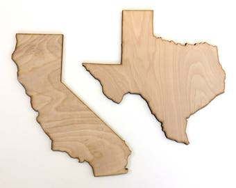 Wood State Cut Out, United States wood cut outs, State laser cut out, home decor, wall decor, door hanger, USA, State pride