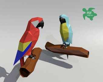 DIY Lowpoly  papercraft parrots PDF template
