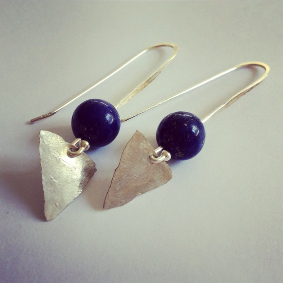 Lapis Lazuli Arrowhead Sterling Silver Earrings - Third Eye - Healing - Chakras - Triangle - Geometric - Boho - Festival - Gypsy - Hammered