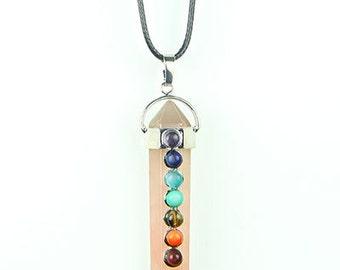Rose Quartz Reiki Chakra Healing Crystal Necklace