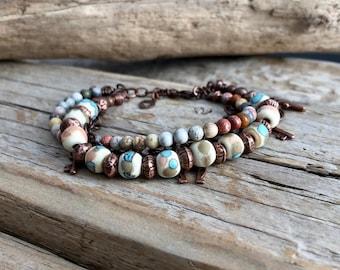 Trendy bracelet Bohemian, copper, glass beads spun flame Jasper, MULTISTRAND, poetic, gypsy bracelet, ethnic, handmade bracelet