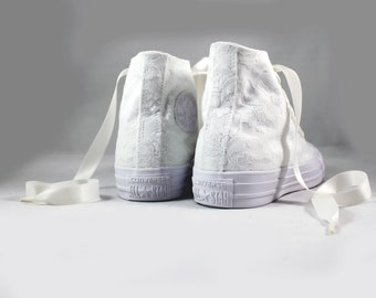 MonoChrome Lace High Top Converses --Bridal Converses -- Wedding Tennis shoes  - Wedding Converse High Top-- Custom Converses