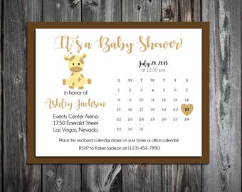 25 GIRAFFE  Baby Shower Invitations set - Price includes personalization and printing and Free Calendar stickers
