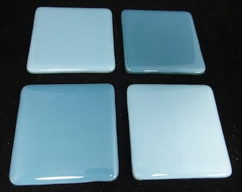 Fused Glass Coasters with Cool Cobalt and Dusky Blue - set of 4