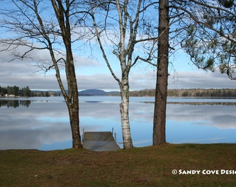 5 x 7 Greeting Card with Envelope - Waiting for Winter, Long Lake, Bridgton, Maine, Lake, Reflections, Sky, Trees