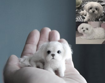 Custom Made Pet Portrait, SMALL SIZE, Needle Felted Miniature Dog, Maltese Dog, Yorkshire Terrier, Bulldog or any other breed
