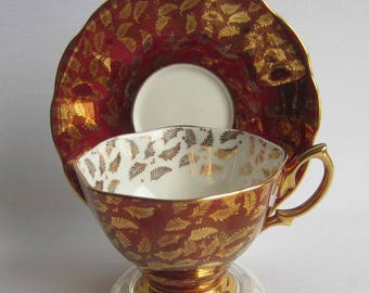 Royal Albert Un-named Gold Fern Fronds on Stunning Dark Red Bone China Tea Cup and Saucer